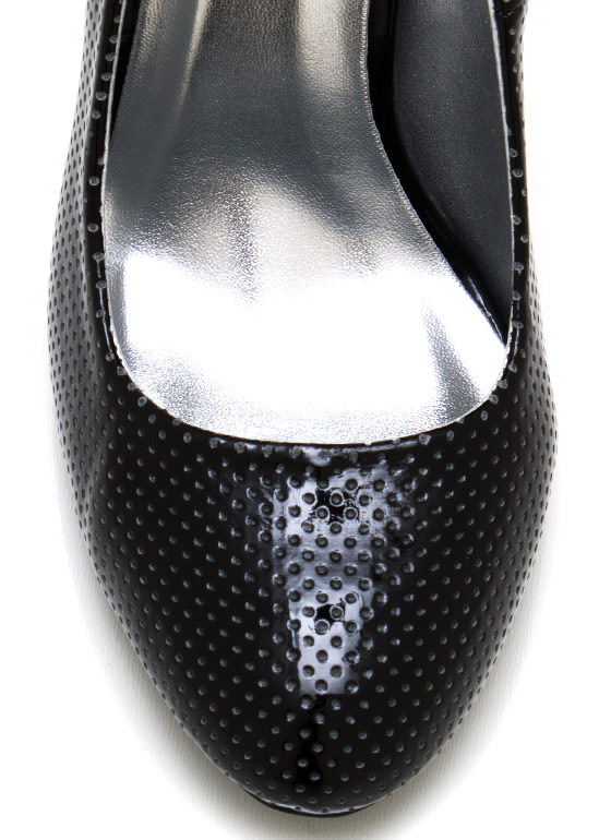 Perfectly Perforated Faux Patent Pumps BLACK