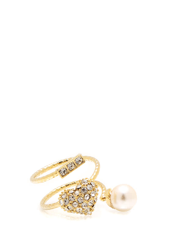 I Love Pearls Coil Ring GOLDIVORY