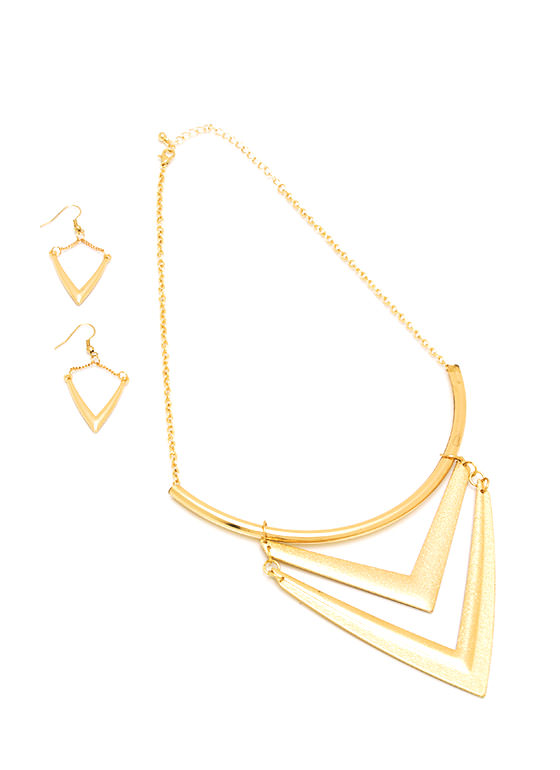 Double V Necklace Set GOLD