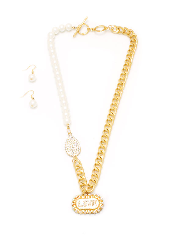 Love Me Down Pearl Necklace Set IVORYGOLD