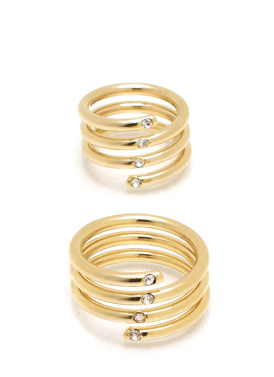 Fancy Fingers Coil Ring Duo GOLD