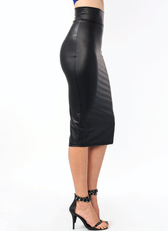 In High Gear Midi Skirt BLACK