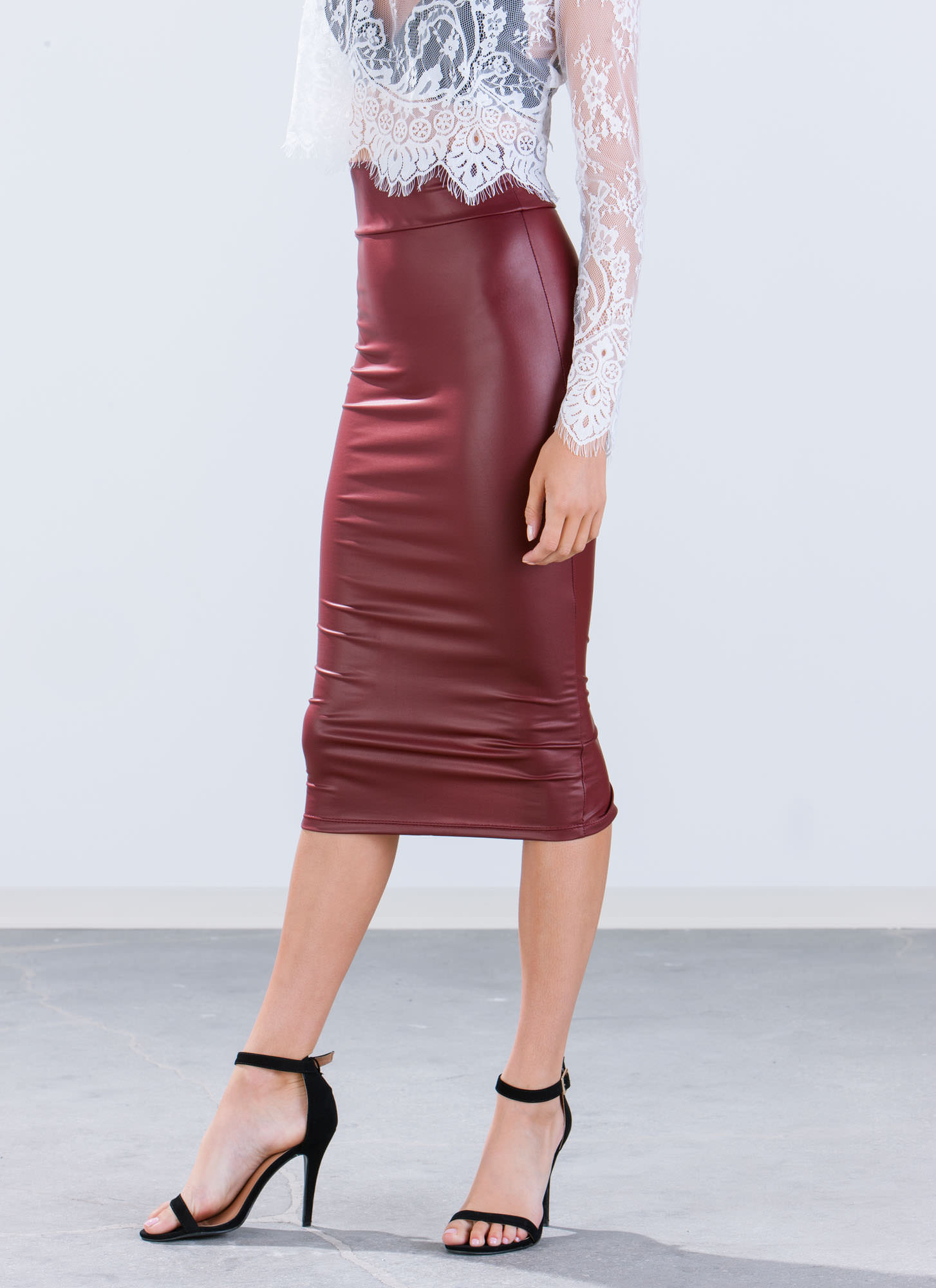 In High Gear Midi Skirt BURGUNDY
