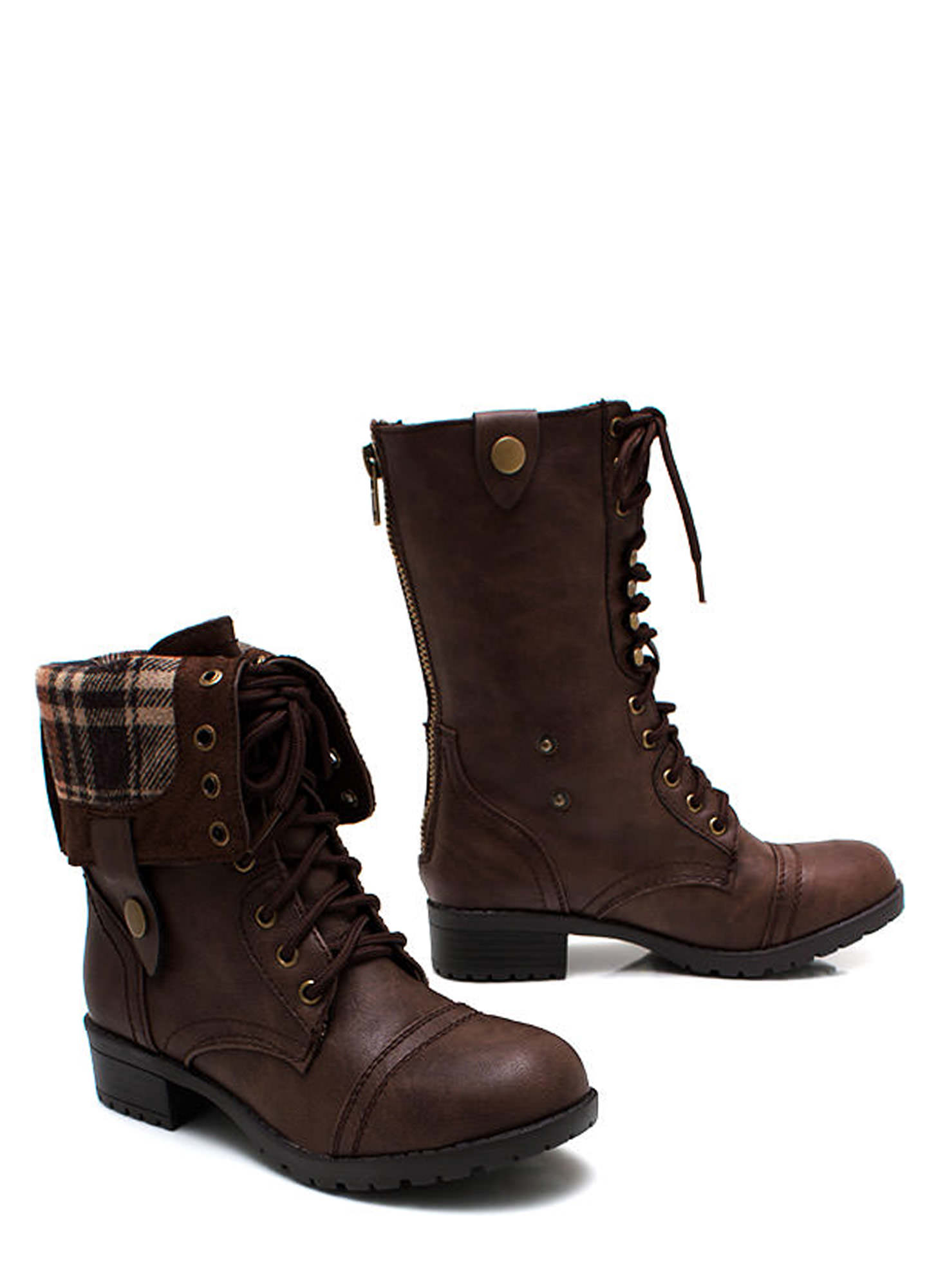 brown combat boots women outfit with popular inspiration