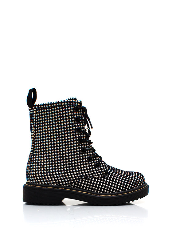 Houndstooth Sleuthing Boots BLACKWHITE