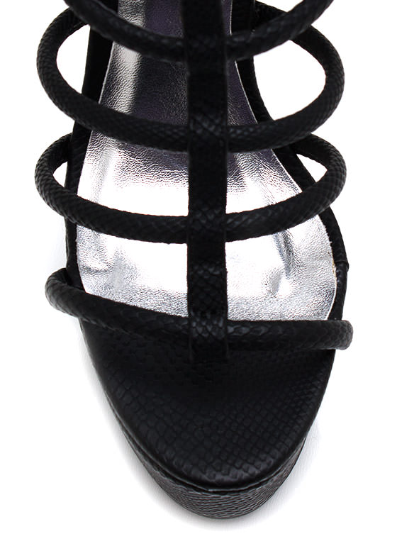 You Got Scales Strappy Platforms BLACK