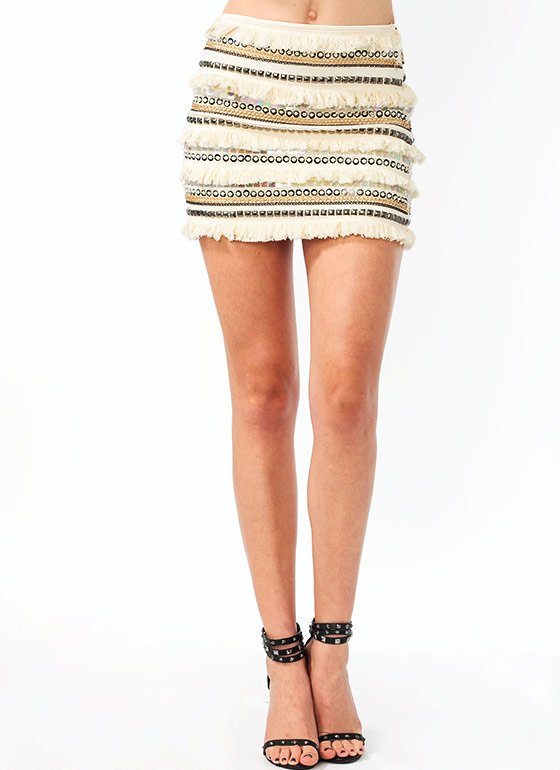 Bead It Fringe Mini Skirt CREAM
