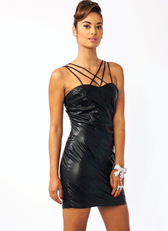 Leather The Storm Strappy Dress BLACK