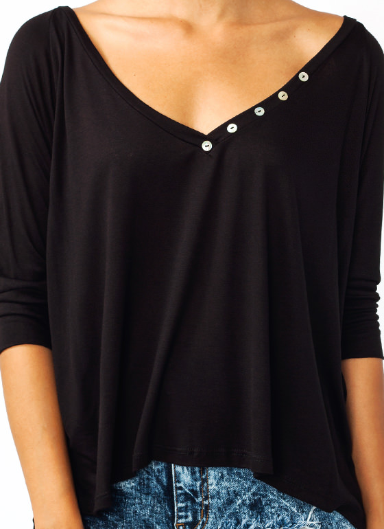 On The Button Boxy Top BLACK