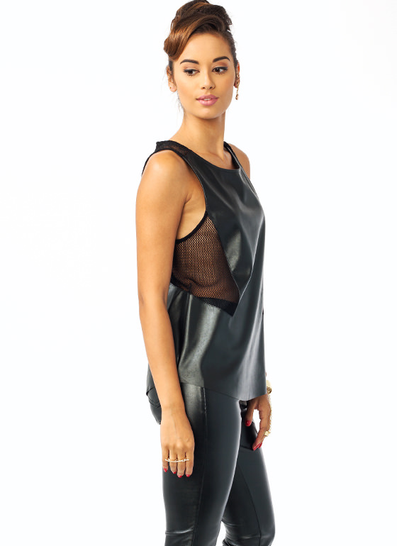 Safety Net Faux Leather Top BLACK