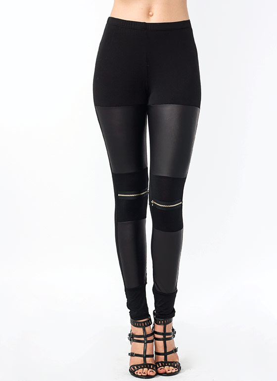 Zip Along Leather Inset Leggings BLACK