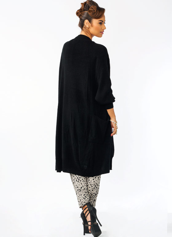 Knit Cocoon Duster BLACK