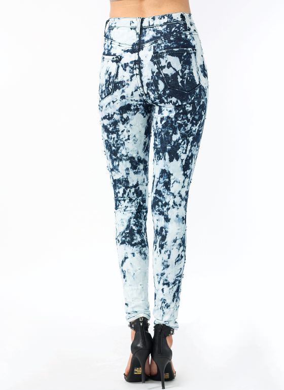 Bullet Point Bleach Splash Jeans INDIGOWHT