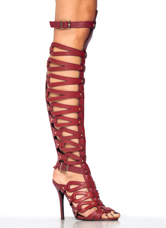 Trapped In Straps Gladiator Heels RED