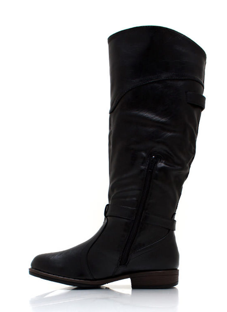 Equestrian Faux Leather Riding Boots BLACK