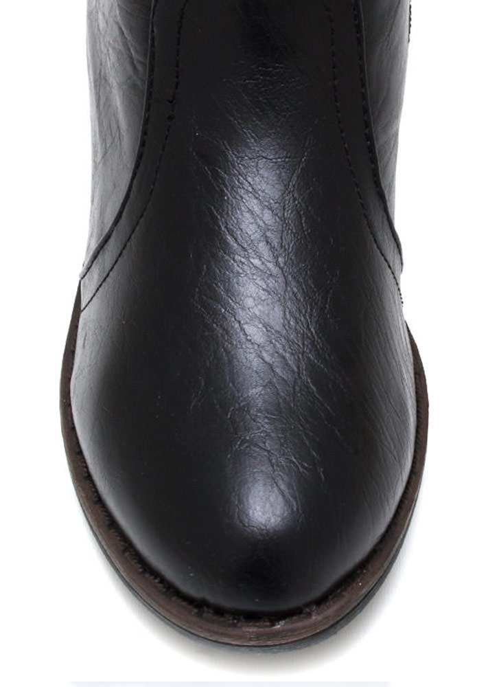 Equestrian Faux Leather Riding Boots BLACK (Final Sale)