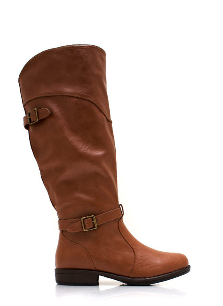 Equestrian Faux Leather Riding Boots CHESTNUT