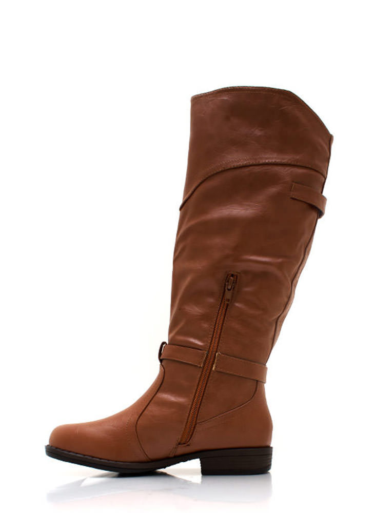 Faux Leather Equestrian Boots CHESTNUT