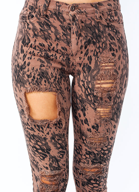 Animal Instinct High Waisted Jeans BROWN