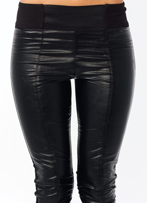 Contrast Cropped Moto Pants BLACK
