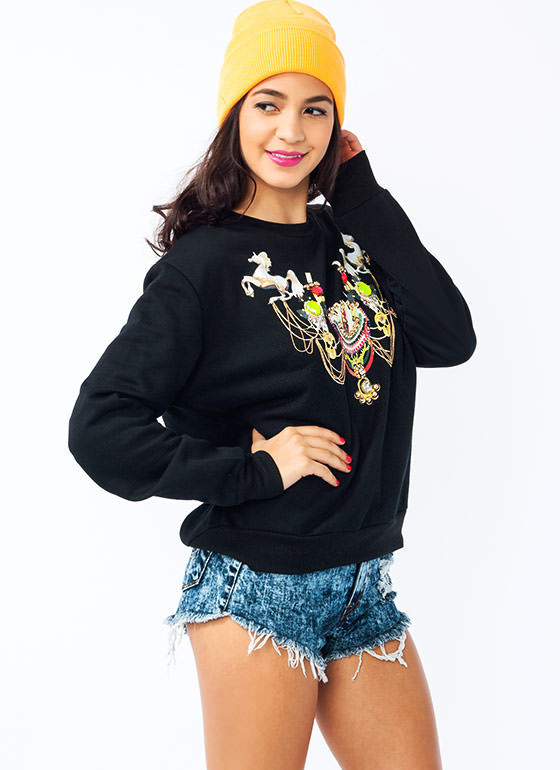 Carousel Embellished Sweatshirt BLACK