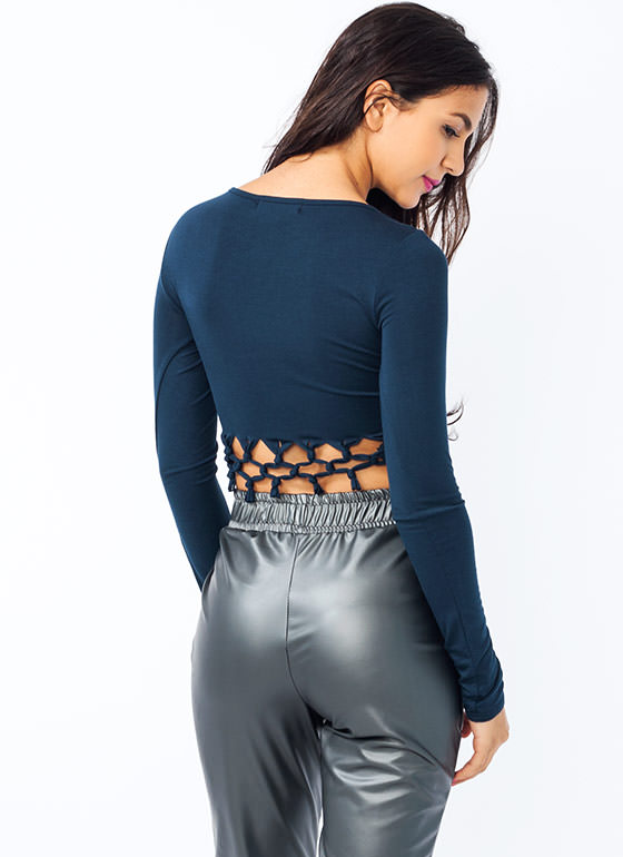Knot Bad Crosshatch Cropped Top NAVY