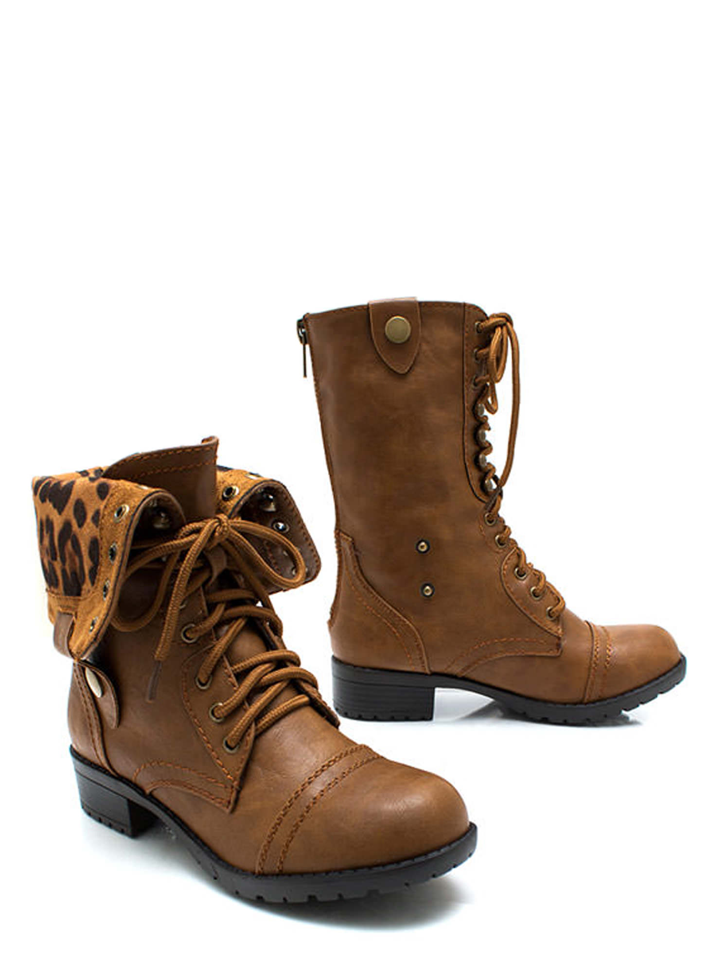 Zipping Around Combat Boots CAMELLEO