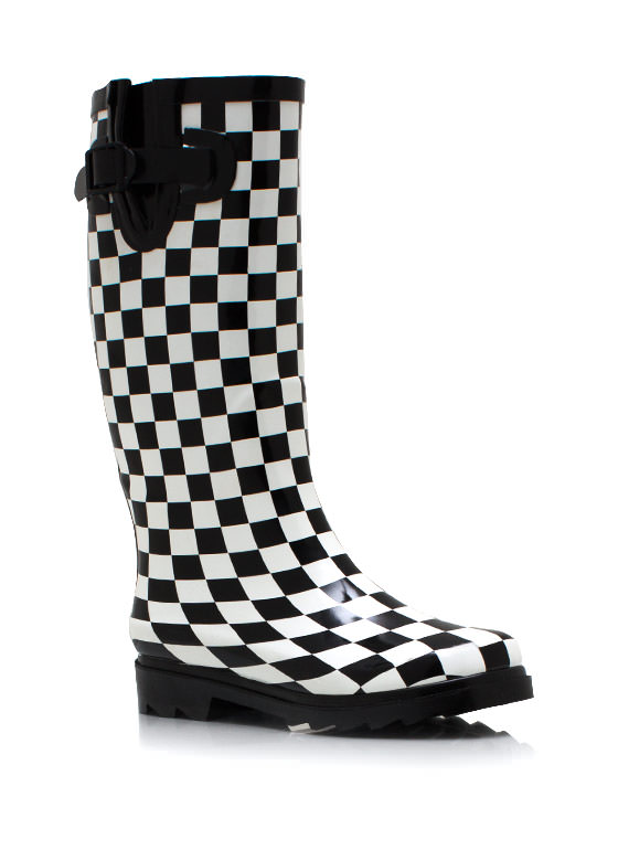 Check Mate Rain Boots BLACKWHITE
