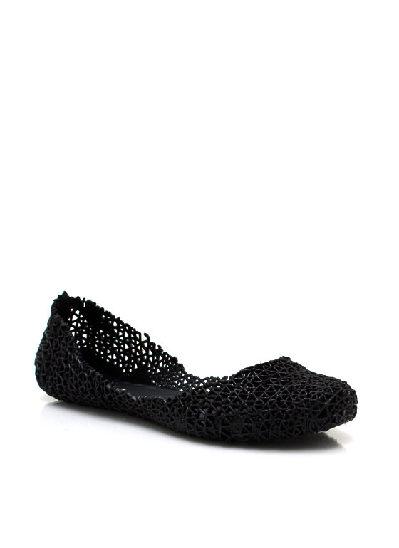 $2 Open Weave Jelly Flats BLACK