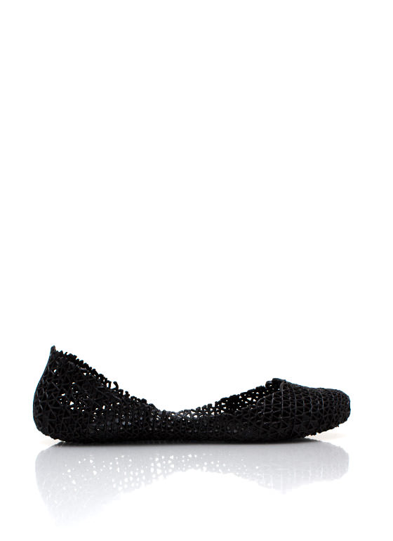 Open Weave Jelly Flats BLACK