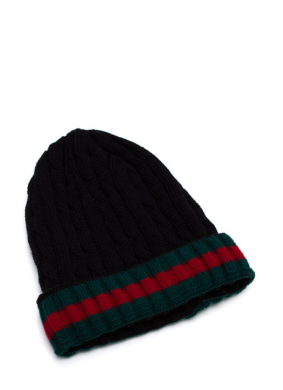 Preppy Cable Knit Beanie BLACKRED
