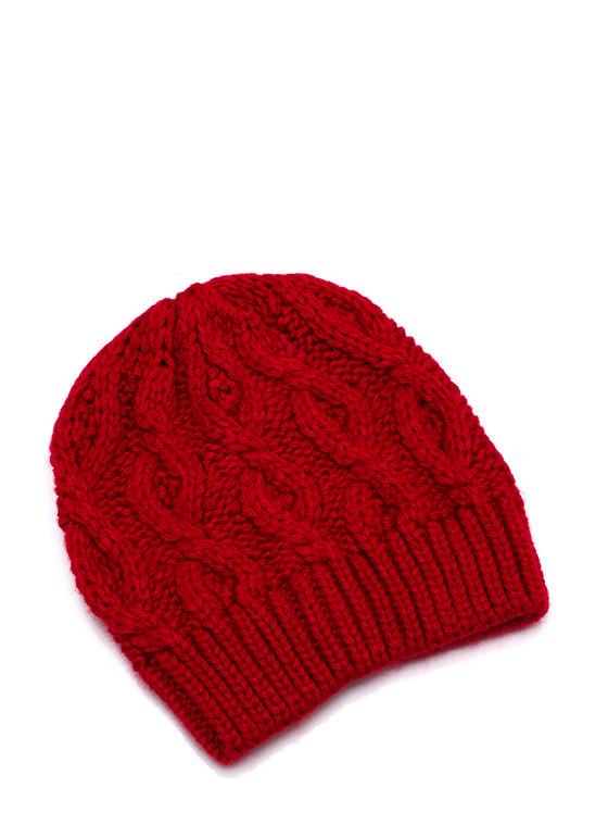 Solid Cable Knit Beanie RED
