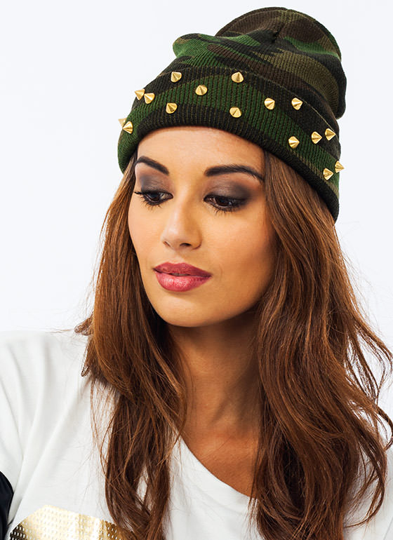 Blending In Spiked Beanie CAMOGOLD