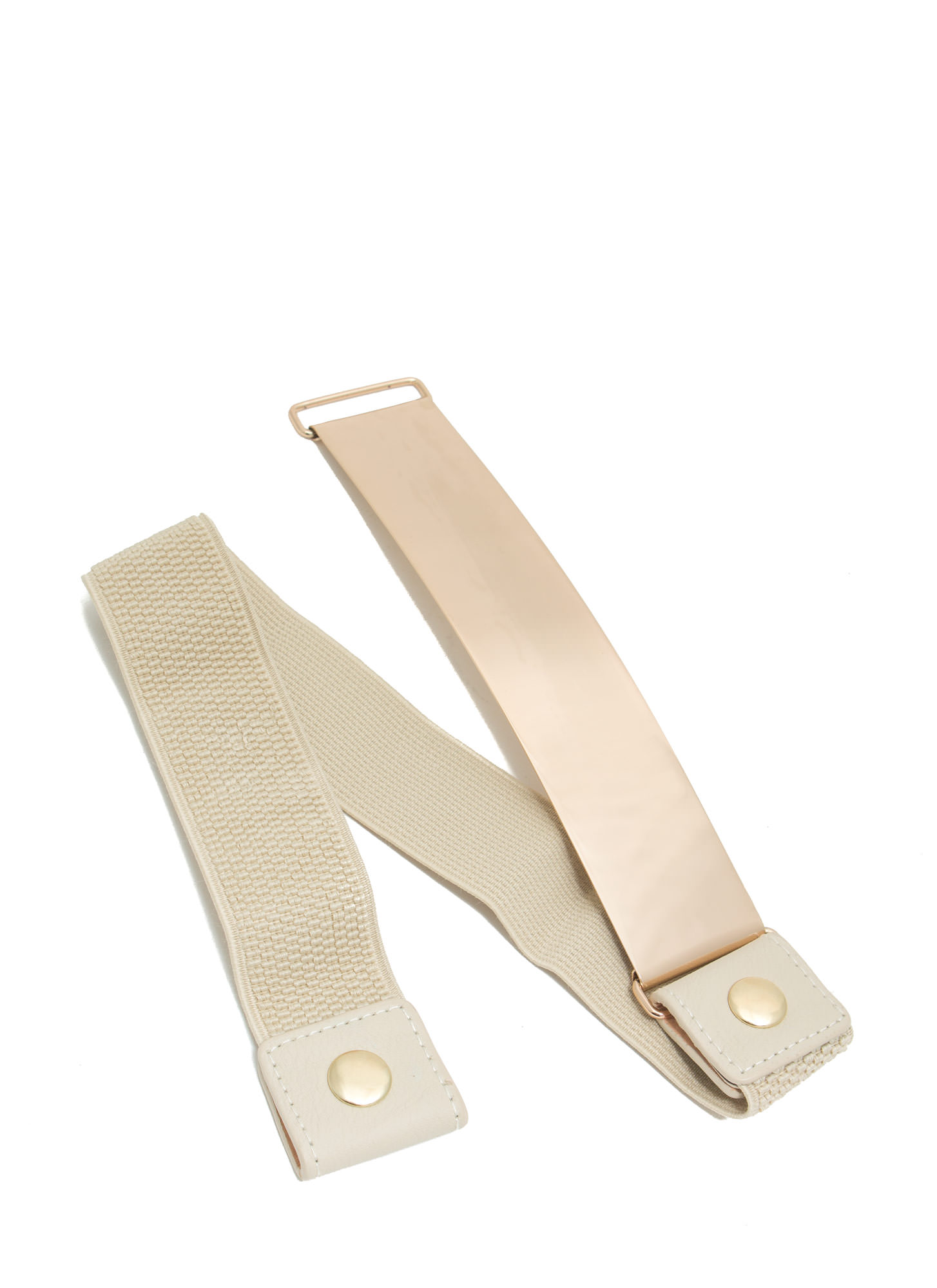 Stretchy Shiny Metal Plate Belt BEIGE