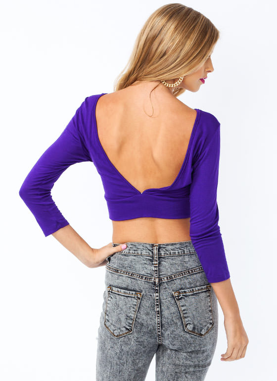 Plunging V Cropped Top PURPLE