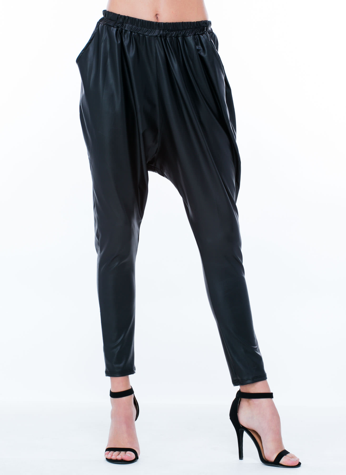 Faux Leather Drop Crotch Pants BLACK (Final Sale)