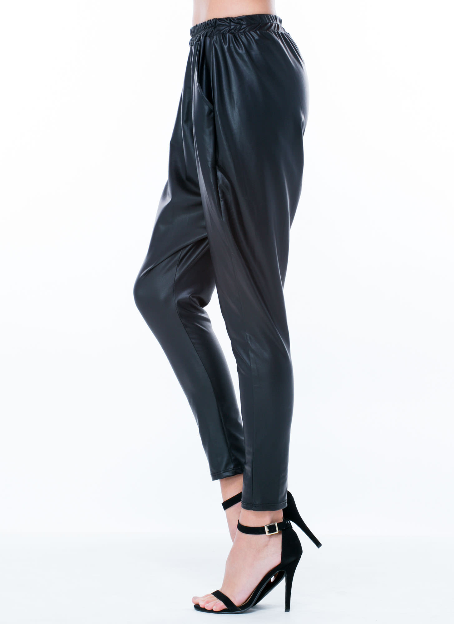 Faux Leather Drop Crotch Pants BLACK