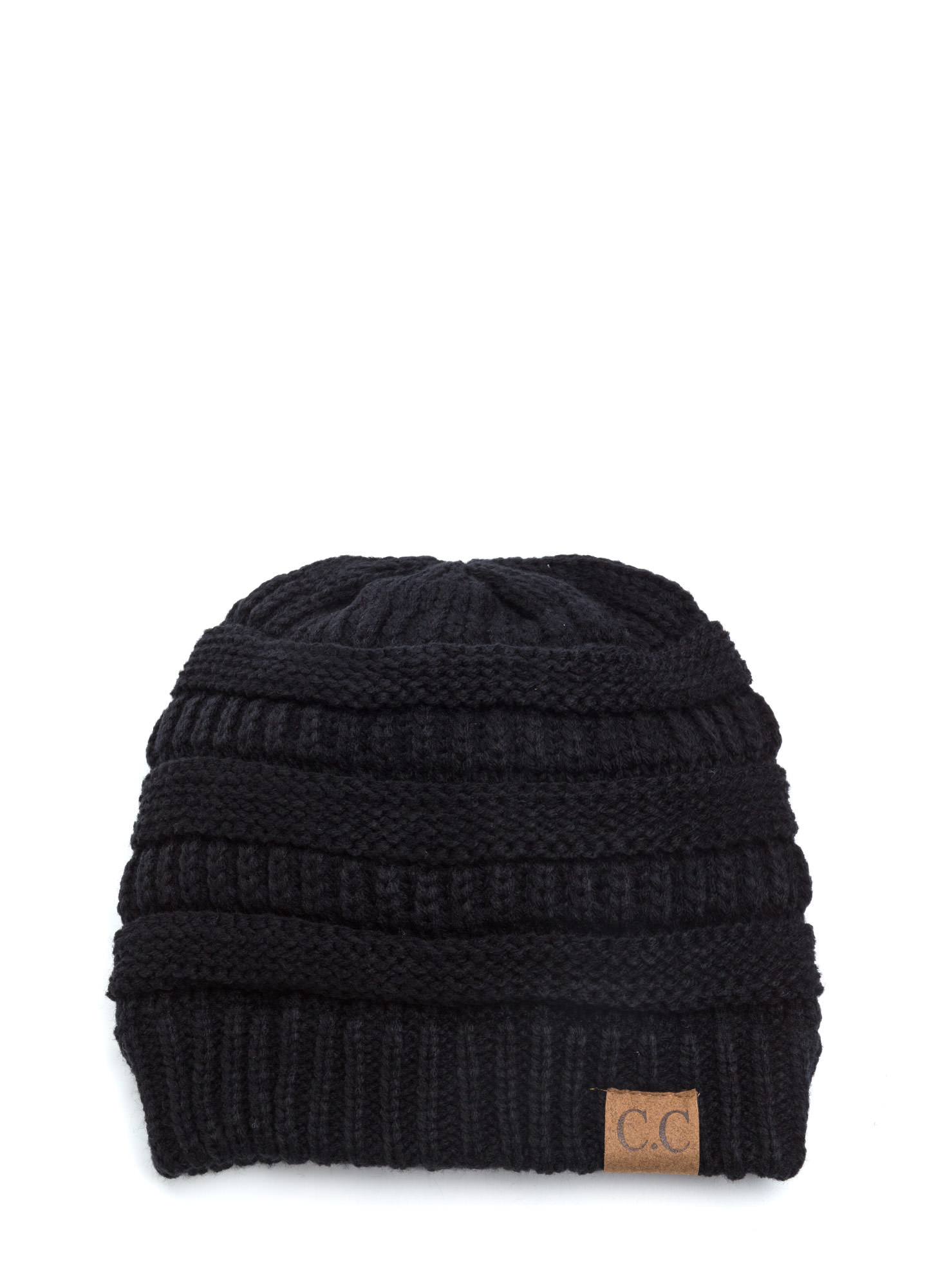 CC Cable Knit Beanie BLACK