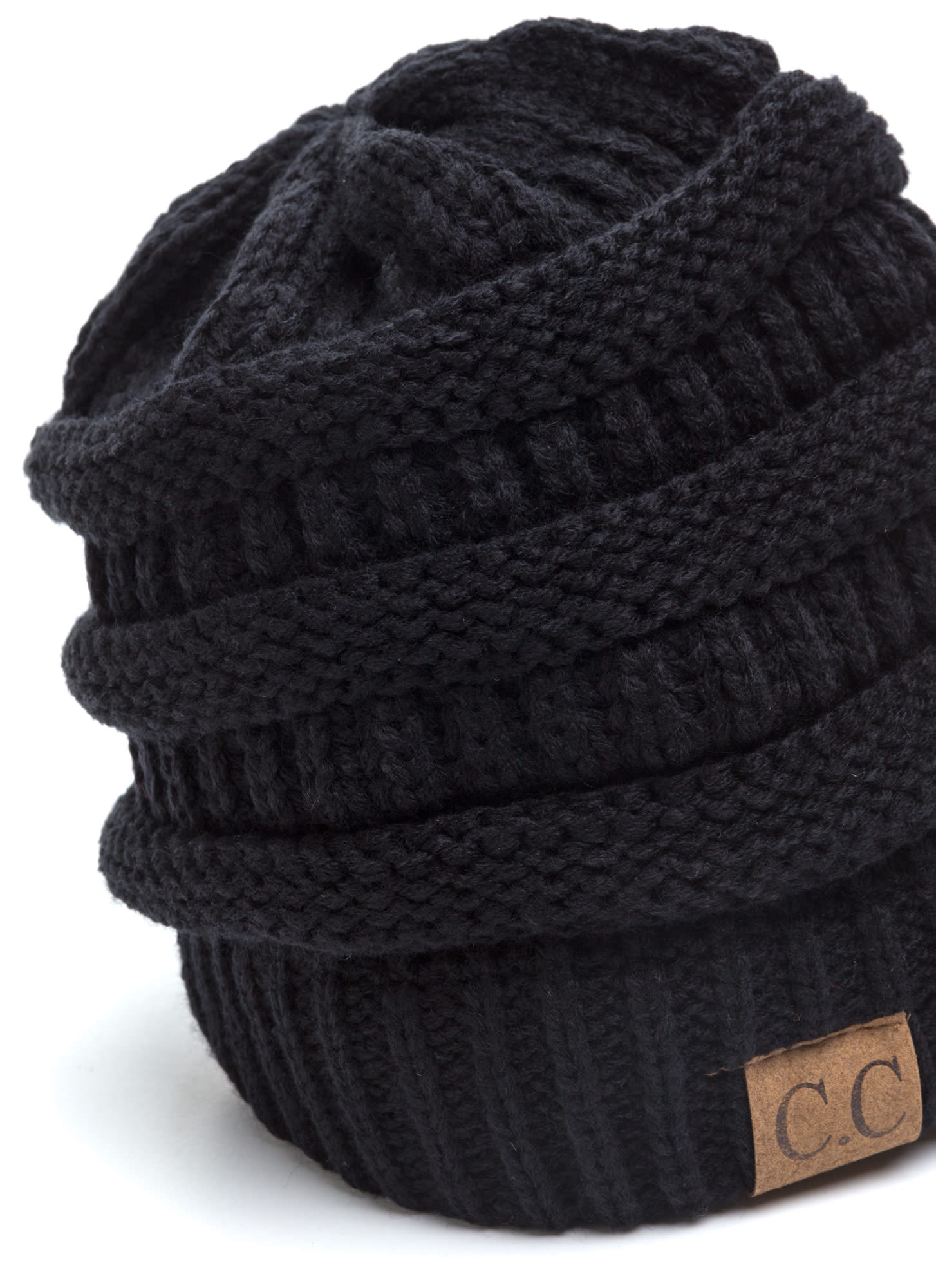 Cozy CC Cable Knit Beanie BLACK (Final Sale)