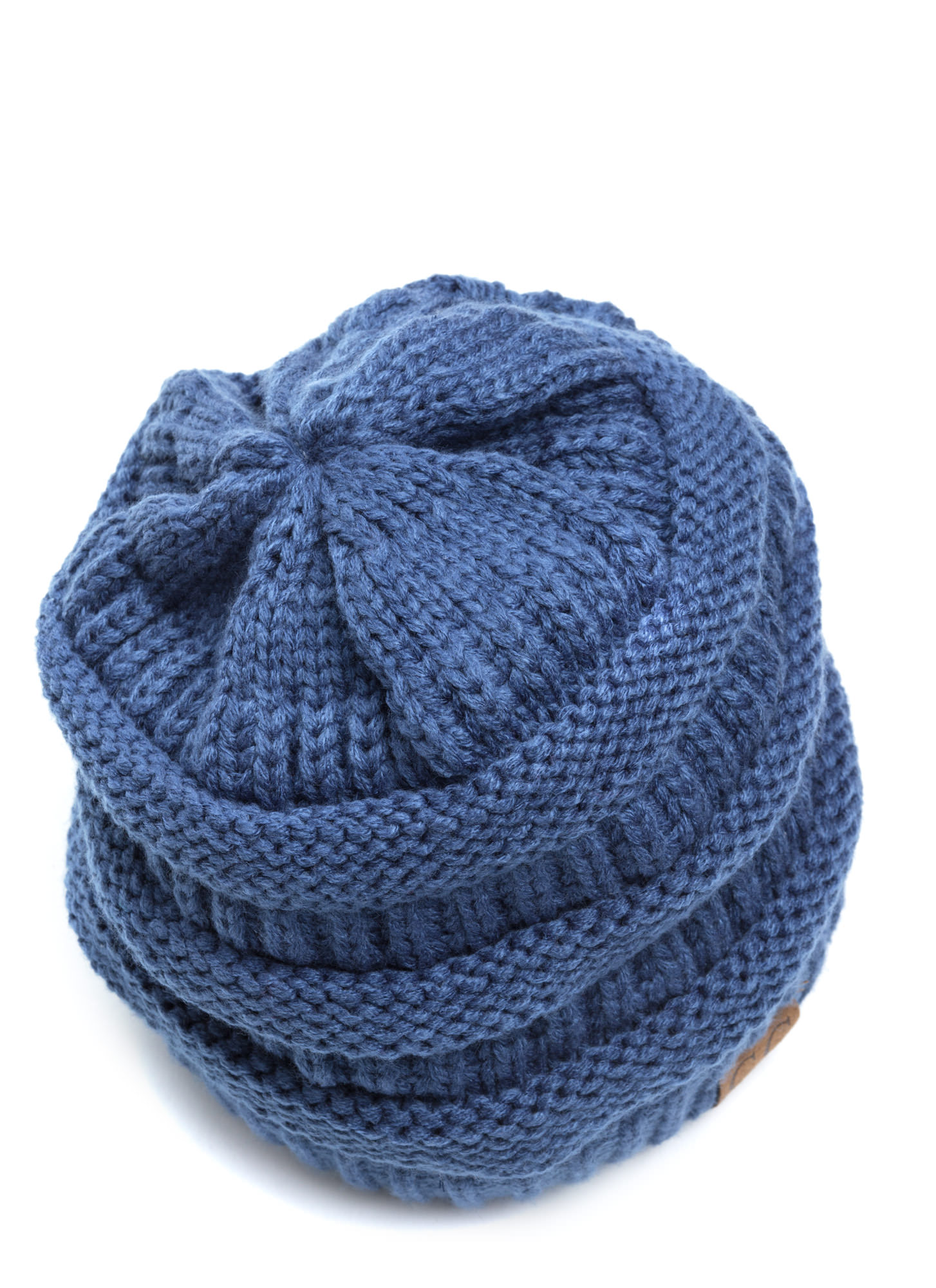 Cozy CC Cable Knit Beanie BLUE (Final Sale)