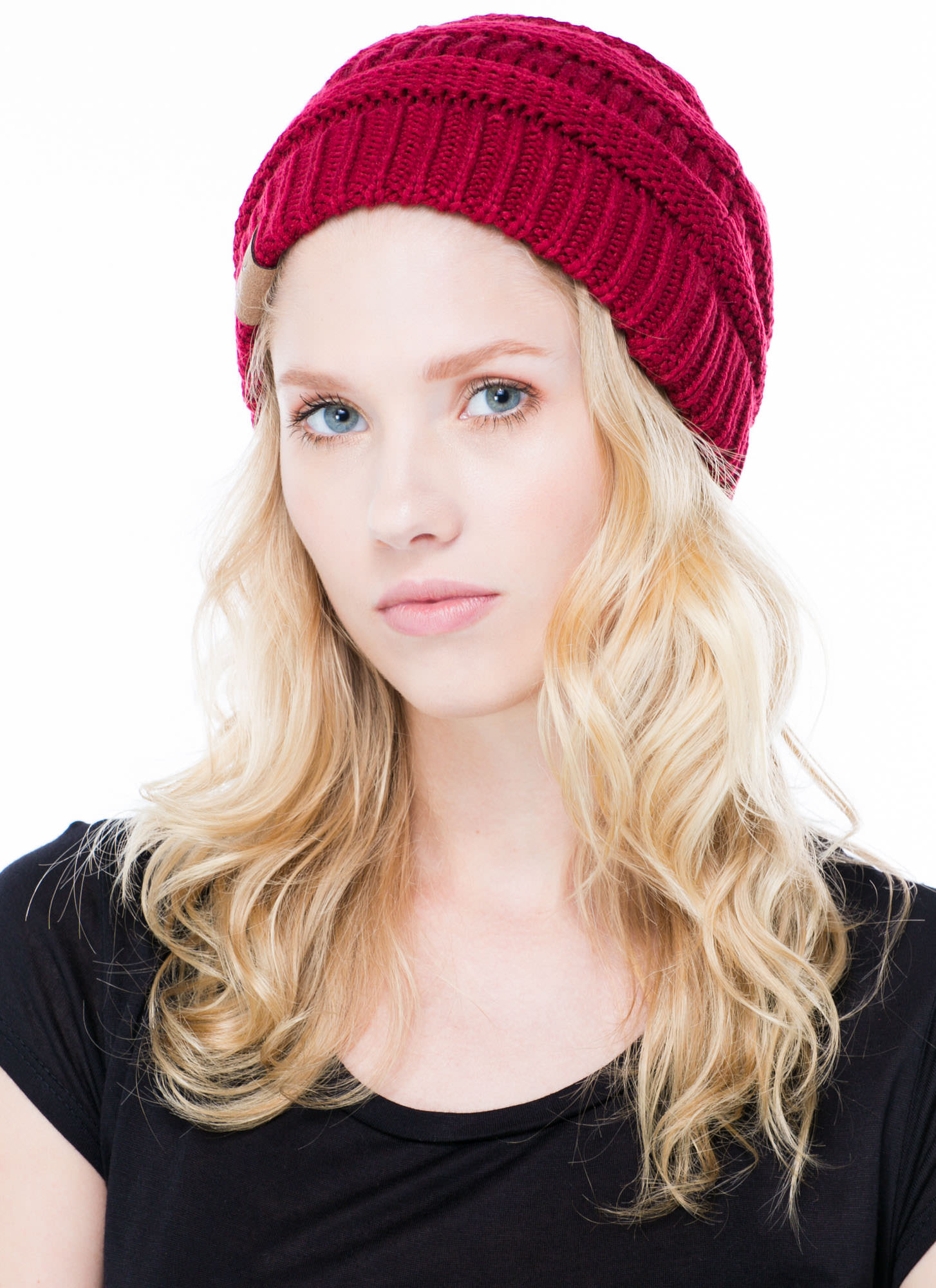 Cozy CC Cable Knit Beanie BURGUNDY (Final Sale)