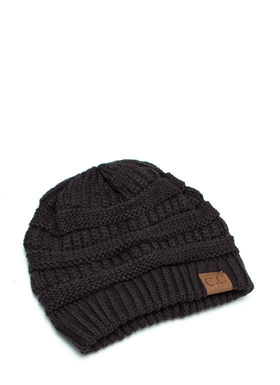 CC Cable Knit Beanie CHARCOAL