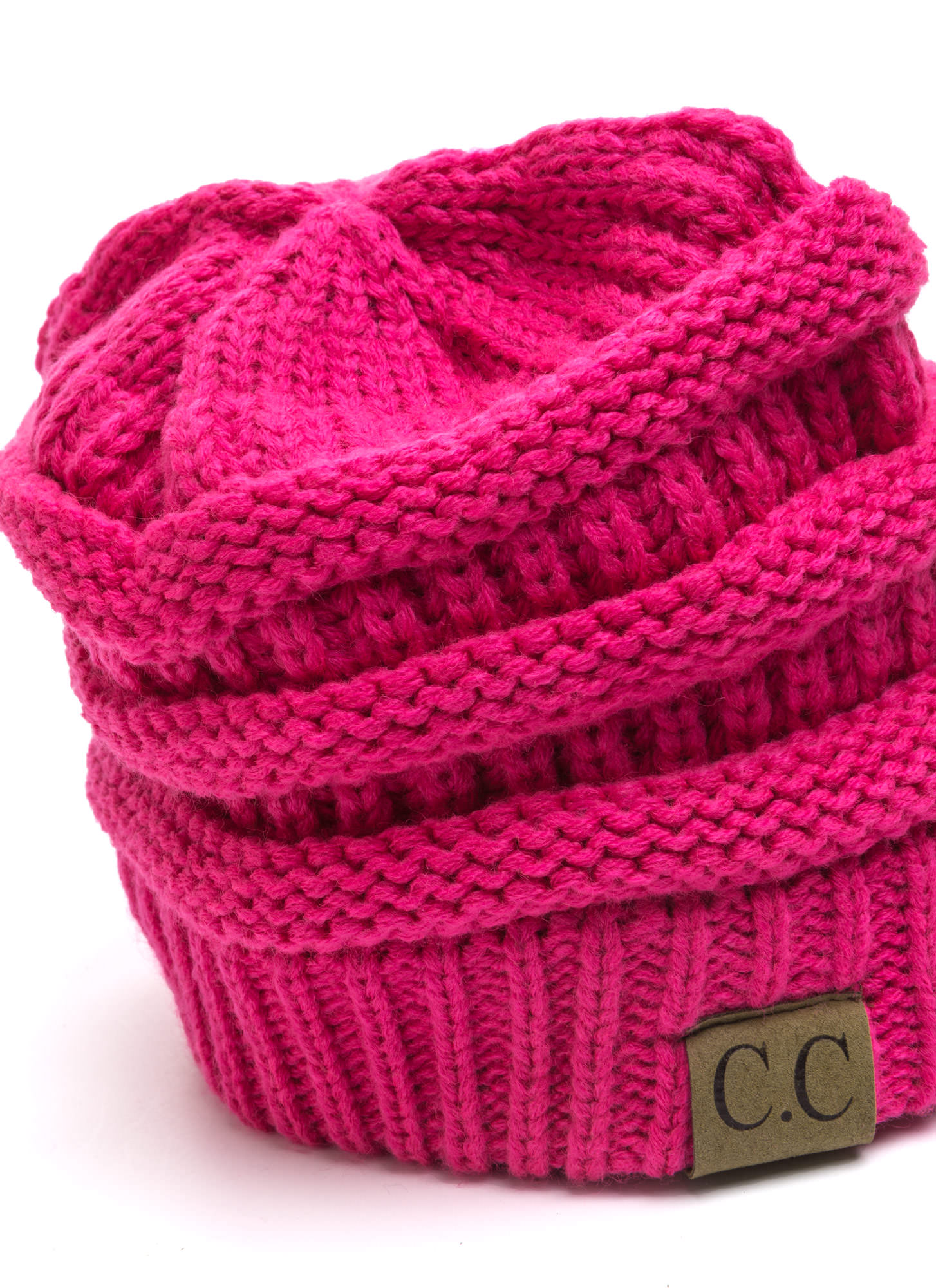 Cozy CC Cable Knit Beanie FUCHSIA (Final Sale)