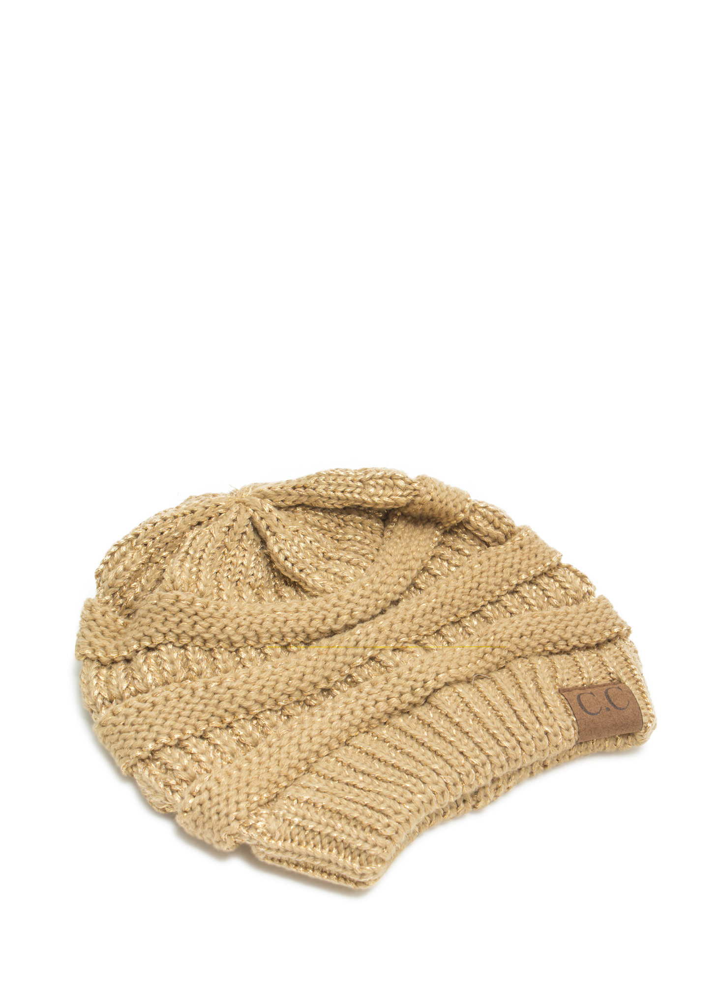 CC Cable Knit Beanie GOLD