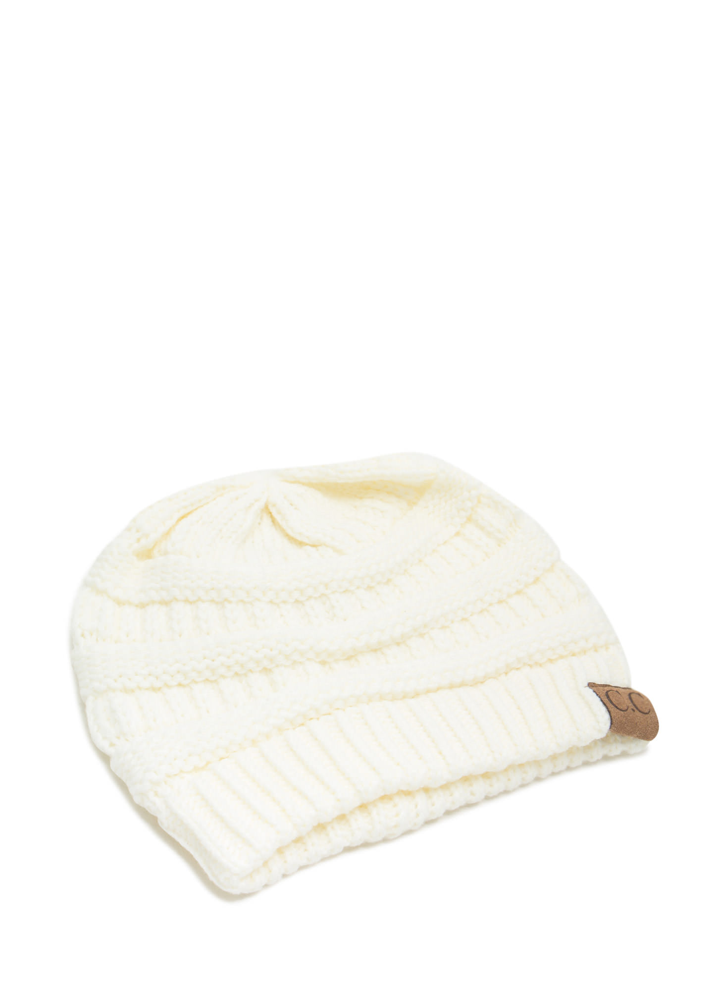 Cozy CC Cable Knit Beanie IVORY (Final Sale)
