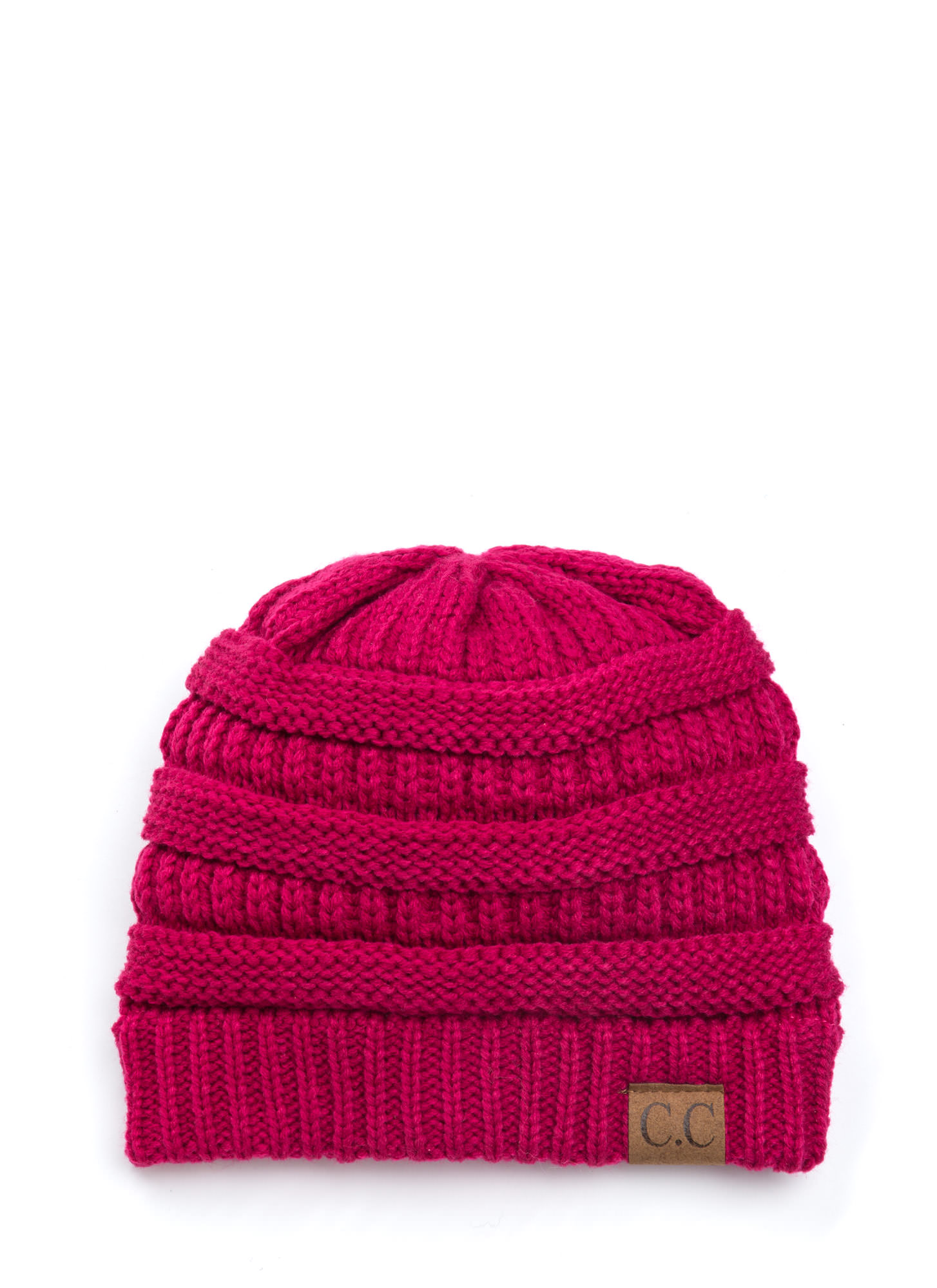 Cozy CC Cable Knit Beanie MAGENTA (Final Sale)