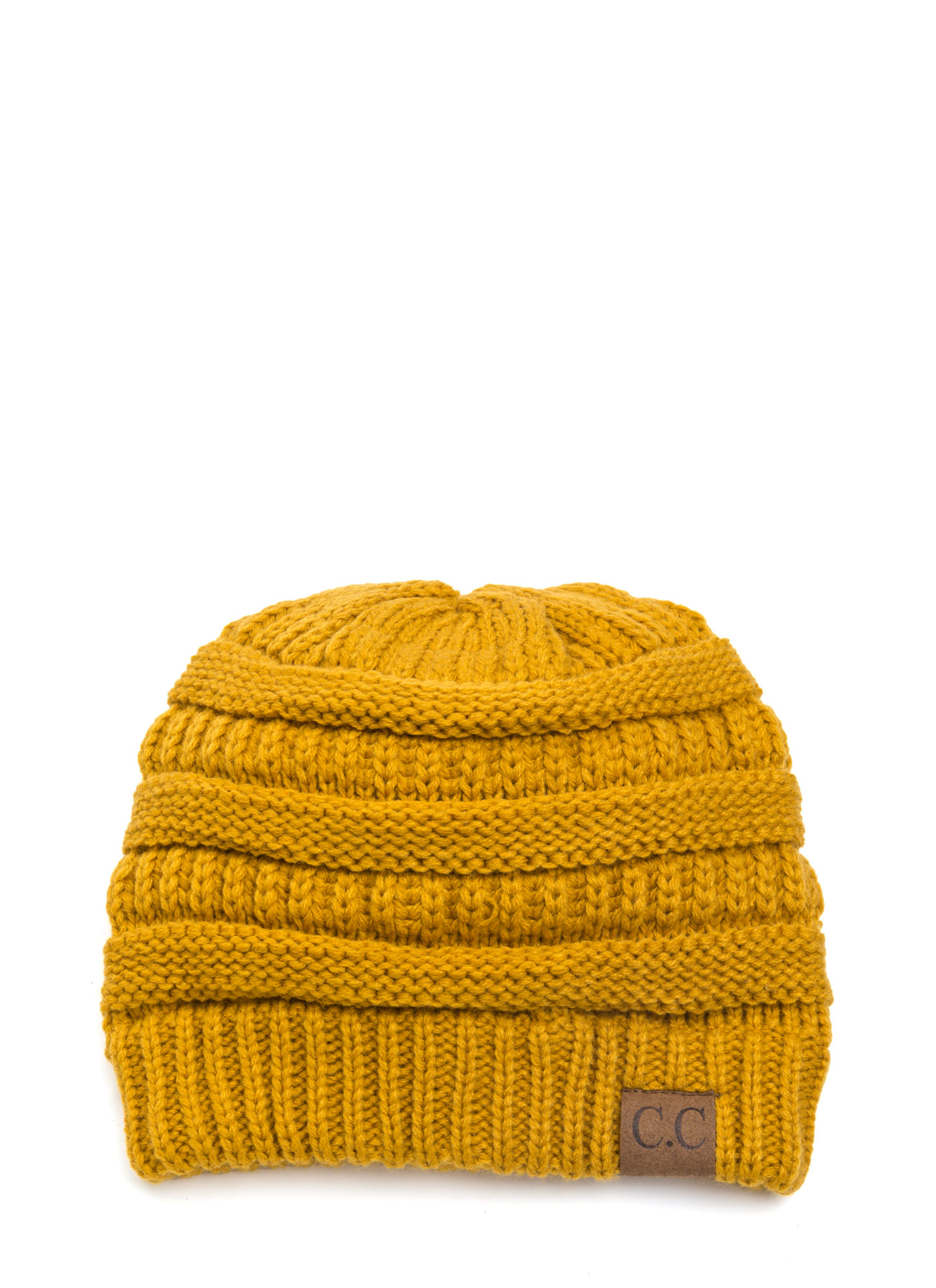 Cozy CC Cable Knit Beanie MUSTARD (Final Sale)
