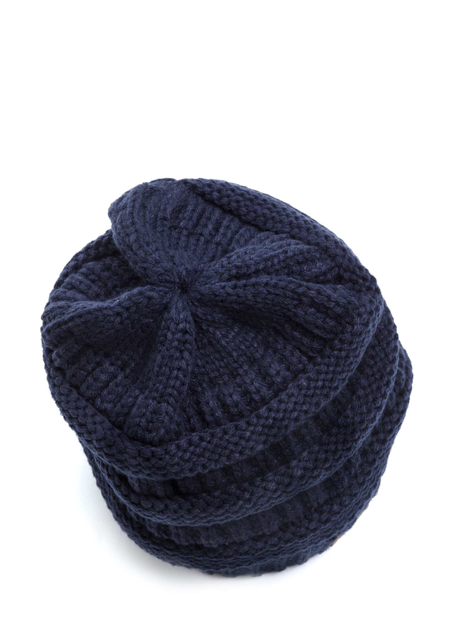 Cozy CC Cable Knit Beanie NAVY (Final Sale)