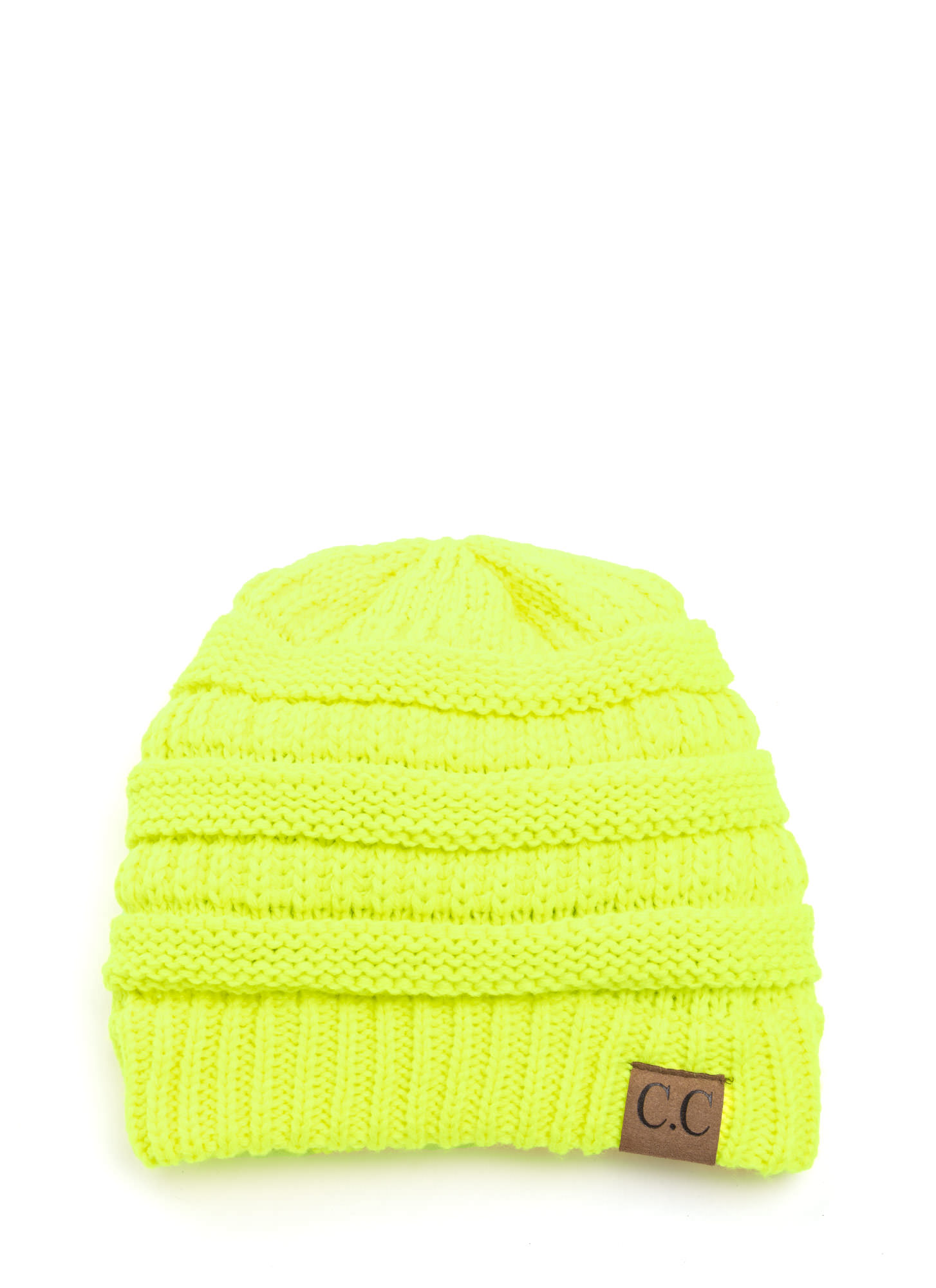Cozy CC Cable Knit Beanie NEONYELLOW (Final Sale)