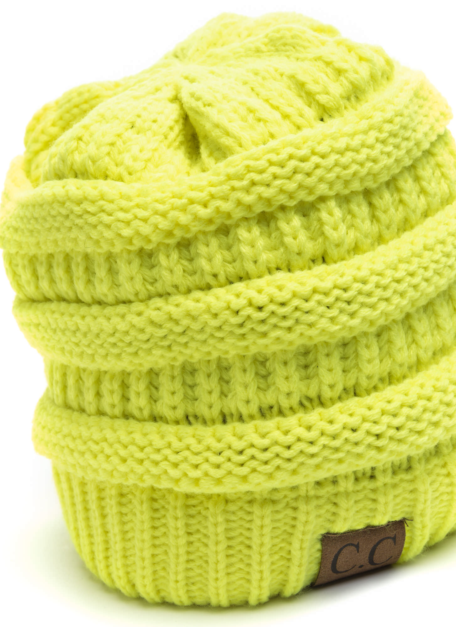 CC Cable Knit Beanie NEONYELLOW